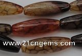 CAG1454 15.5 inches 10*30mm rice dragon veins agate beads
