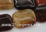 CAG1483 15.5 inches 18*25mm rectangle dragon veins agate beads