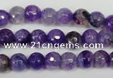 CAG1512 15.5 inches 8mm faceted round fire crackle agate beads