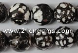 CAG1556 15.5 inches 16mm faceted round fire crackle agate beads