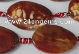 CAG1589 15.5 inches 20*30mm twisted oval fire crackle agate beads
