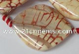 CAG1593 15.5 inches 30*38mm twisted marquise fire crackle agate beads