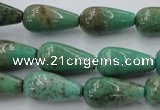 CAG1601 15.5 inches 10*20mm teardrop green grass agate gemstone beads