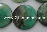 CAG1616 15.5 inches 30mm faceted coin green grass agate beads