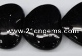 CAG1631 15.5 inches 32*32mm heart black agate gemstone beads