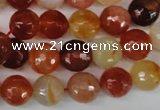 CAG1657 15.5 inches 10mm faceted round red agate gemstone beads