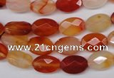 CAG1678 15.5 inches 8*12mm faceted oval red agate gemstone beads