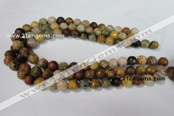 CAG1714 15.5 inches 12mm faceted round rainbow agate beads