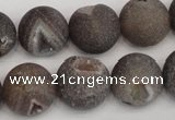 CAG1845 15.5 inches 16mm round matte druzy agate beads whholesale