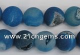 CAG1856 15.5 inches 14mm round matte druzy agate beads whholesale