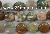 CAG1928 15.5 inches 12mm flat round green magic agate beads