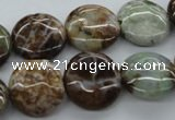 CAG1930 15.5 inches 16mm flat round green magic agate beads