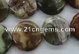 CAG1932 15.5 inches 20mm flat round green magic agate beads