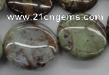 CAG1933 15.5 inches 25mm flat round green magic agate beads