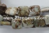 CAG1961 15.5 inches 12*12mm square green magic agate beads