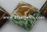 CAG1975 15.5 inches 30*30mm diamond green magic agate beads