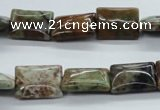 CAG1978 15.5 inches 12*16mm rectangle green magic agate beads