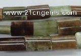 CAG1984 15.5 inches 10*15mm flat tube green magic agate beads