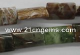 CAG1985 15.5 inches 12*20mm flat tube green magic agate beads