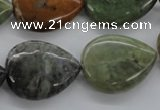 CAG1995 15.5 inches 18*25mm flat teardrop green magic agate beads