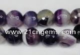 CAG2097 15.5 inches 12mm faceted round purple line agate beads