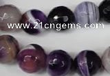 CAG2098 15.5 inches 14mm faceted round purple line agate beads
