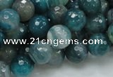 CAG215 15.5 inches 10mm faceted round blue agate gemstone beads