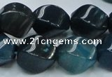CAG220 15.5 inches 13*18mm twisted blue agate gemstone beads