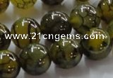 CAG237 15.5 inches 14mm round dragon veins agate gemstone beads