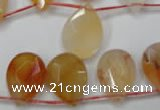 CAG2408 Top-drilled 13*18mm faceted flat teardrop red agate beads