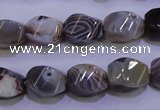 CAG2768 15.5 inches 10*14mm twisted rice botswana agate beads wholesale