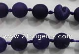 CAG2800 15.5 inches 10mm round matte druzy agate beads whholesale