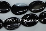 CAG2919 15.5 inches 15*20mm oval black line agate beads