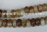CAG3120 15.5 inches 6*10mm rondelle brown line agate beads