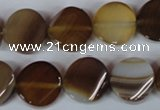 CAG3151 15.5 inches 14mm twisted coin brown line agate beads