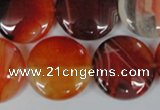 CAG3187 15.5 inches 22mm flat round red line agate beads