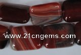 CAG3264 15.5 inches 15*20mm rectangle red line agate beads