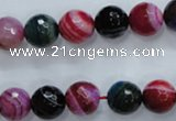 CAG3303 15.5 inches 10mm faceted round colorfull line agate beads