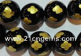CAG3365 15.5 inches 14mm carved round black agate beads wholesale