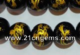 CAG3382 15.5 inches 14mm carved round black agate beads wholesale