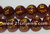 CAG3403 15.5 inches 12mm carved round red agate beads wholesale
