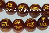 CAG3404 15.5 inches 14mm carved round red agate beads wholesale