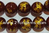 CAG3413 15.5 inches 18mm carved round red agate beads wholesale