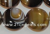 CAG3506 15.5 inches 25mm flat round brown line agate beads