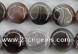 CAG3715 15.5 inches 16mm flat round botswana agate beads wholesale