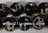 CAG3855 15.5 inches 16mm faceted round tibetan agate beads wholesale