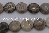 CAG3905 15.5 inches 12mm flat round chrysanthemum agate beads