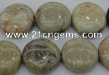 CAG3907 15.5 inches 18mm flat round chrysanthemum agate beads