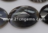 CAG3977 15.5 inches 25*35mm faceted oval grey botswana agate beads