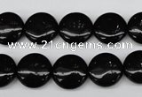 CAG4012 15.5 inches 14mm flat round black agate beads